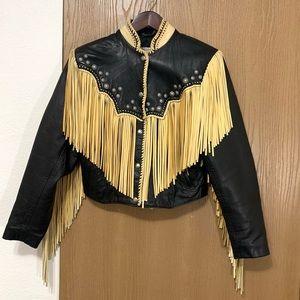 West of Santa Fe Western Leather Jacket Fringe